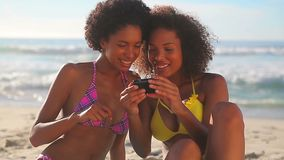 Smiling women photographing themselves stock footage