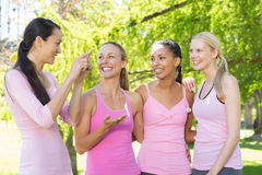Smiling women in pink for breast cancer awareness Royalty Free Stock Photography