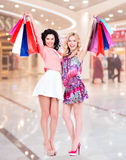 Smiling women raised up colorful shopping bags. Two attractive smiling women raised up colorful shopping bags standing on a white background Royalty Free Stock Image
