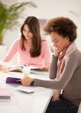 Smiling Women  Studying Together Stock Photo