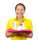 Smiling women with toiletries Royalty Free Stock Photos