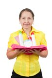 Smiling women with toiletries Stock Image