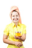 Smiling women with toiletries Royalty Free Stock Images