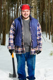 Smiling Woodcutter with hatchet Stock Photo