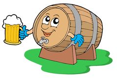 Smiling wooden keg holding beer Stock Photos
