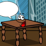 Smiling wooden table with speech bubble Royalty Free Stock Photography