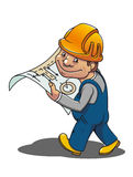 Smiling worker. Smiling cartoon worker with scheme for industrial design Royalty Free Stock Photography