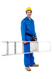 Smiling worker carrying a ladder. Handyman with step-ladder, isolated on white Stock Photo