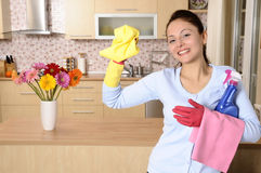 Smiling worker cleaning the house royalty free stock images
