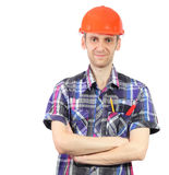 Smiling worker with helmet isolated on white Stock Photo