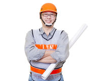 Smiling  worker holding project blueprints Royalty Free Stock Photos