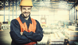 Smiling worker in protective uniform Royalty Free Stock Photos