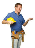 Smiling worker on white Royalty Free Stock Photos