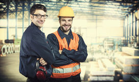 Smiling workers in protective uniforms Royalty Free Stock Images