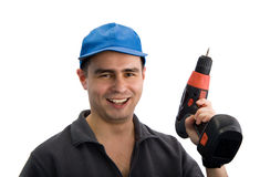 Smiling workman with screwdriver Royalty Free Stock Photos