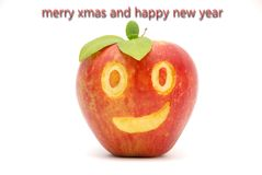 Smiling Xmas ,card,smiling Apple Royalty Free Stock Image