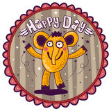 Smiling yellow elephant, Happy Day! Royalty Free Stock Image
