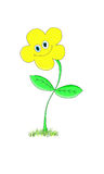 Smiling yellow flower on a white background Stock Photos