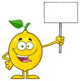 Smiling Yellow Lemon Fresh Fruit With Green Leaf Cartoon Mascot Character Pointing To A 100 Percent Natural Sign. Illustration Isolated On White Background Royalty Free Stock Images