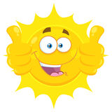 Smiling Yellow Sun Cartoon Emoji Face Character Giving Two Thumbs Up Stock Images