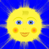 Smiling Yellow Sun Icon Royalty Free Stock Photos