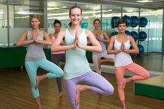 Smiling yoga class in tree pose in fitness studio. At the leisure center Stock Images
