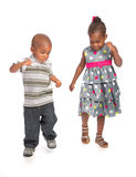 Smiling Young African American Brother and Sister Dance Isolated Stock Photo