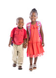 Smiling Young African American Brother and Sister Holding Hand Royalty Free Stock Photography