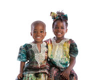 Smiling Young African American Brother and Sister Portrait Isola Royalty Free Stock Photos