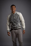 Smiling Young African American Male Model Natural Looking Royalty Free Stock Images