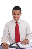 Smiling Young African American Male Working Stock Image