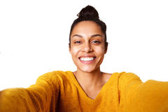 Smiling young african lady taking selfie Royalty Free Stock Images