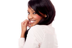 Smiling young african woman portrait isolated Stock Photo