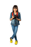 Smiling young asian girl holding photo camera Stock Images