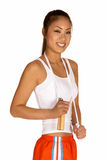 Smiling Young Asian Woman with Jump Rope. Beautifull Smiling Young Asian Woman with Jump Rope Stock Photos