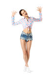 Smiling Young Attractive Girl Posing. Casual Jeans Wear Style Royalty Free Stock Photos