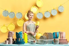 Smiling young beautiful housewife in gray apron holding sponge royalty free stock photos