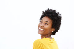 Smiling young black woman looking away Stock Image