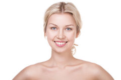 Smiling young blond woman Stock Image