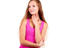 Smiling young blonde woman in pink shirt Royalty Free Stock Photo