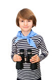 A smiling young boy with binocular. Isolated on white background Stock Photo
