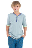 Smiling young boy with a blue shirt Stock Photo