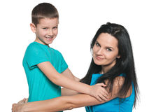 Smiling young boy with his mother Royalty Free Stock Photography