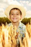 smiling young boy with straw hat in a field of whe Stock Photos