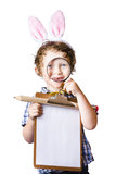 Boy bunny ears holding clipboard Stock Photography