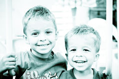 Smiling young boys. Close-up portrait of two smiling boys Stock Photo