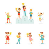 Smiling young boys and girls celebrating their medals and winner cups, set for label design. Cartoon detailed colorful Stock Image