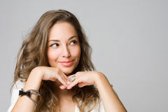 Smiling young brunette woman. Stock Photography
