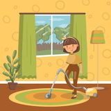 Smiling young brunette woman cleaning living room with vacuum cleaner, vector Illustration. Cartoon style Stock Image