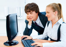 Smiling and young business people Stock Photography